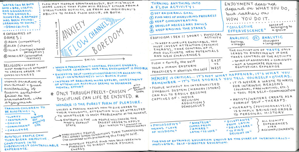 Flow Psychology Optimal Experience Summary - handwritten notes of Mihaly Csikszentmihalyi's book